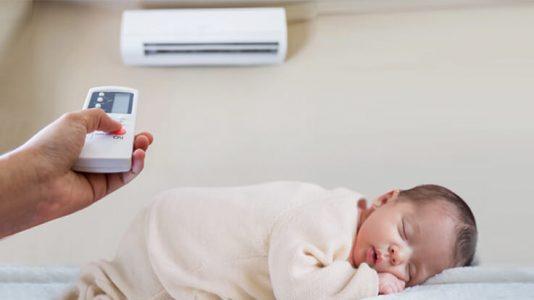 baby under air conditioner
