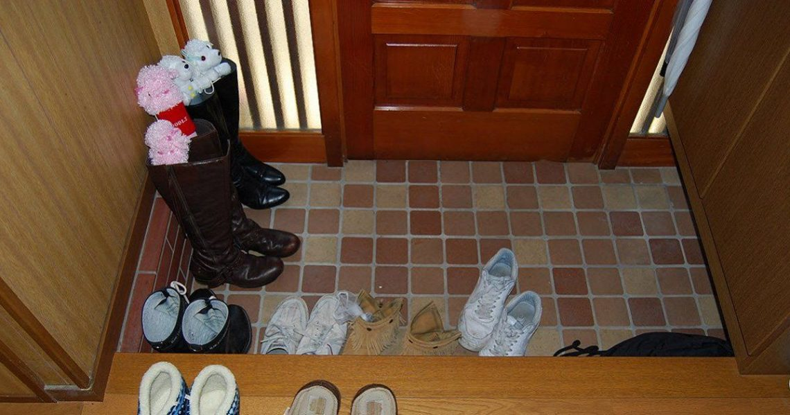 pile shoes inside home